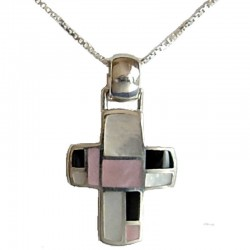 Assorted Mother Of Pearl Silver Cross MOP Pendant & Sterling Silver Chain Necklace