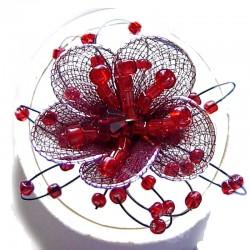 Handcrafted Costume Jewellery, Fashion Women Girls Handmade Gift, Red Silky Flower Beaded Ring