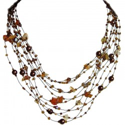 Unique Costume Jewellery, Women Gift, Carnelian Tumblechip Multi-strand Floating Brown Pearl Bead Cascade Necklace