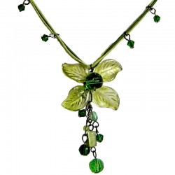 Handcrafted Costume Jewellery Accessories, Fashion Women Girls Dainty Small Gift, Green Bead Lucky Flower Cord Necklace