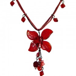 Handcrafted Costume Jewellery Accessories, Fashion Women Girls Dainty Small Gift, Red Bead Lucky Flower Cord Necklace
