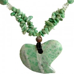 Classic Romance Love Costume Jewellery Accesories, Fashion Women Gifts, Green Natural Stone Large Heart Statement Necklace