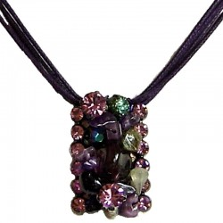 Purple Glitter Beaded Rectangle Cord Necklace