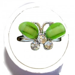 Small Costume Jewellery Rings, Fashion Young Women Girls Little Dainty Gifts, Lime Green Rhinestone Cute Butterfly Ring