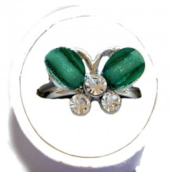 Small Costume Jewellery Rings, Fashion Young Women Girls Little Dainty Gifts, Green Rhinestone Cute Butterfly Ring