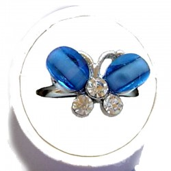 Small Costume Jewellery Rings, Fashion Young Women Girls Little Dainty Gifts, Blue Rhinestone Cute Butterfly Ring