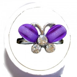 Small Costume Jewellery Rings, Fashion Young Women Girls Little Dainty Gifts, Purple Rhinestone Cute Butterfly Ring