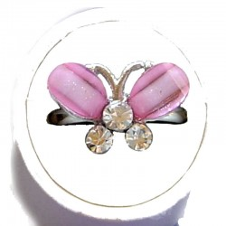 Small Costume Jewellery Rings, Fashion Young Women Girls Little Dainty Gifts, Soft Pink Rhinestone Cute Butterfly Ring