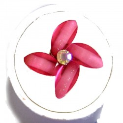 Cute Hot Pink Rhinestone Blossom Lucky Flower Ring