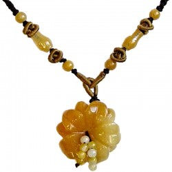 Natural Stone Costume Jewellery Accessoies, Fashion Women Girls Gift, Yellow Jade Blossom Flower Dark Brown Rope Necklace