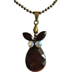 Simple Costume Jewellery Accessories, Fashion Women Girls Small Gifts.Brown Diamante Butterfly Teardrop Pendant Necklace