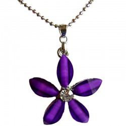 Cute Costume Jewellery Accessories, Fashion Women Teenage Teen Girls Small Gift, Purple Rhinestone Lucky Flower Pendant Necklace