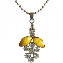 Yellow & Clear Diamante Grape Pendant