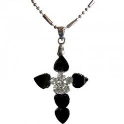 Cute Costume Jewellery Accessories, Fashion Women Teenage Teen Girls Small Gift, Black & Clear Diamante Cross Pendant Necklace