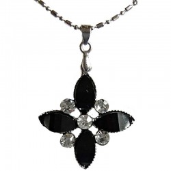 Cute Costume Jewellery Accessories, Fashion Women Teenage Teen Girls Small Gift, Black Diamante Lozenge Flower Pendant Necklace