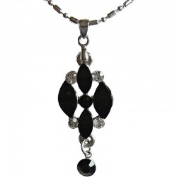 Classic Costume Jewellery Accessories, Fashion Women Girls Small Gift, Black Diamante Rhombus & Black Drop Pendant Necklace
