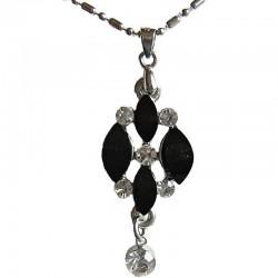 Classic Costume Jewellery Accessories, Fashion Women Dress Small Gift, Black Diamante Rhombus & Clear Drop Pendant Necklace
