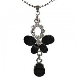 Costume Jewellery Dressy Accessories, Fashion Women Girls Small Gift, Black Diamante Butterfly Drop Pendant Necklace