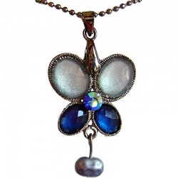 Chic Costume Jewellery Accessories, Fashion Women Girls Small Gift, Mixed Blue Diamante Butterfly Pendant Necklace