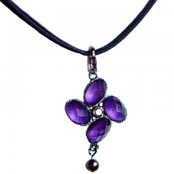 Costume Jewellery Rope Necklaces, Fashion Accessories, Women Dainty Small Gift, Purple Diamante Luck Flower Cord Necklace