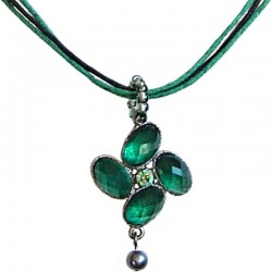 Costume Jewellery Rope Necklaces, Fashion Accessories, Women Dainty Small Gift, Green Diamante Luck Flower Cord Necklace
