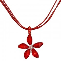Cute Costume Jewellery Accessories, Fashion Women Teenage Teen Girls Small Gift, Red Rhinestone Lucky Flower Cord Necklace