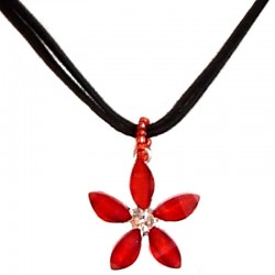 Cute Costume Jewellery Accessories, Fashion Teenage Teen Girls Small Gift, Red Rhinestone Lucky Flower Black Suede Cord Necklace