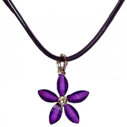 Cute Costume Jewellery Accessories, Fashion Women Teenage Teen Girls Small Gift, Purple Rhinestone Lucky Flower Cord Necklace
