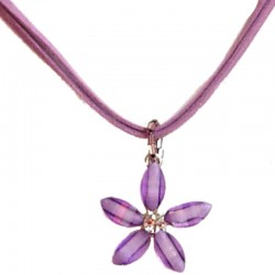 Cute Costume Jewellery Accessories, Fashion Women Teenage Teen Girls Small Gift, Lilac Rhinestone Lucky Flower Suede Cord Neckla