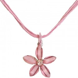 Cute Costume Jewellery Accessories, Fashion Women Teenage Teen Girls Small Gift, Pink Rhinestone Lucky Flower Cord Necklace