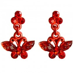 Small Costume Jewellery Dressy Accessories, Fashion Women Girls Small Gifts, Red Diamante Butterfly Dainty Drop Earrings