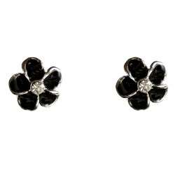 Cute Costume Jewellery Earring Studs,Young Women Girls Accessories, dainty Small Gift, Black Enamel Daisy Flower Stud Earrings