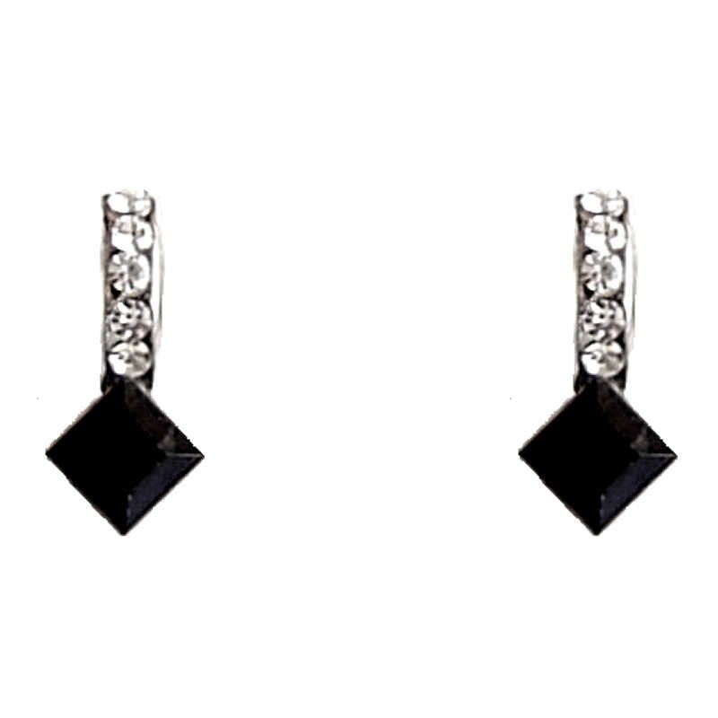 Costume Jewellery Earring Studs Fashion Women Accessory Dainty Small Gift Black Diamante Lozenge Loading Zoom