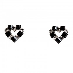 Costume Cute Jewellery Earring Studs, Fashion Women Girls Accessories, Small Gift, Black & Clear Diamante Heart Stud Earrings