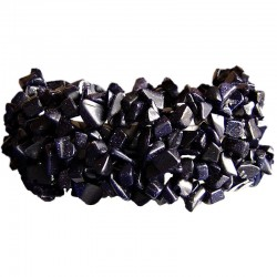 Semi-Precious Gemstone Bead Costume Jewellery, Black Natural Stone Lapis Lazuli Tumblechips Stretch Bracelet