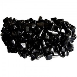 Semi-Precious Gemstone Bead Costume Jewllery, Black Natural Stone Onyx Tumblechips Stretch Bracelet