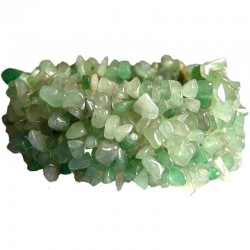 Semi-Precious Gemstone Bead Costume Jewellery, Green Natural Stone Aventurine Tumblechips Stretch Bracelet