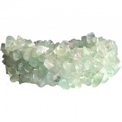 Semi Precious Gemstone Bead Costume Jewellery, Light Green Natural Stone Labradorite Tumblechips Stretch Bracelet