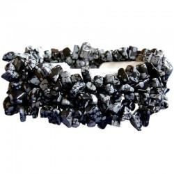 Black White Natural Stone Snowflake Obsidian Tumblechips Stretch Bracelet