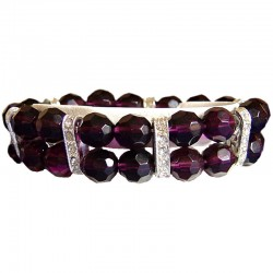 Fashion Beaded Costume Jewellery Accessories, Women Girls Small Gifts, Purple Large Bead Clear Diamante Spacer Stretch Bracelet