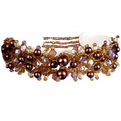 Fashion Beaded Costume Jewellery Accessories, Women Girls Small Gifts, Brown Pearl Beaded Elastic Bracelet