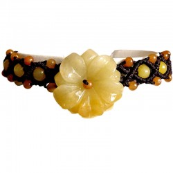 Natural Stone Costume Jewellery Accessoies, Fashion Women Girls Gift, Yellow Jade Blossom Flower Rope Bracelet
