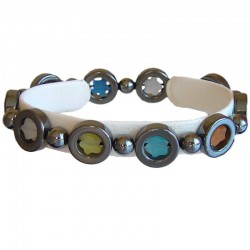 Natural Stone Costume Jewellery Accessoies, Fashion Women Girls Gift, Haematite Ring & Multi Colour Star Stretch Bracelet