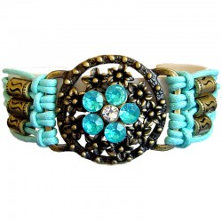 Chic Costume Jewellery Accessoies, Fashion Women Girls Trendy Small Gift, Blue Flower Circle Multi Strand Cord Bracelet
