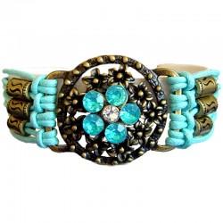 Chic Costume Jewellery Accessoies, Fashion Women Girls Trendy Small Gift, Blue Flower Circle Multi Strand Cord Bracelet