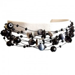 Cascade Black Cats-Eye Bead Multi Strand Floating Bracelet