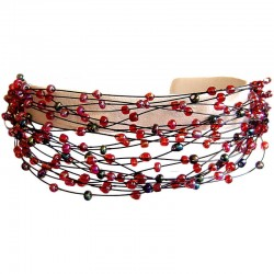 Handcrafted Costume Jewellery Bracelets, Women Unique Handmade Gift, Multi Strand Floating Mixed Red Bead Cascade bracelet