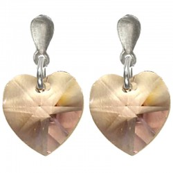 Lilac Crystal Heart Silver Post Drop Earrings