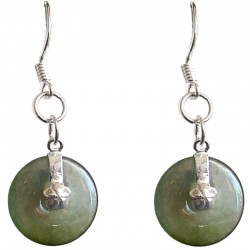 Dark Green Jade Disc Silver Hook Drop Earrings
