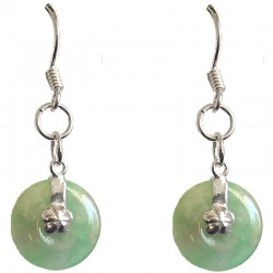 Green Jade Disc Silver Hook Drop Earrings